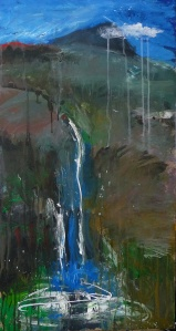 'Wells of Arthur's Seat, Stream and Hill I' Mixed media on 35 x 18.5 inch wood panel. Rose Strang 2018