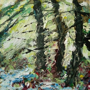 'Wells of Arthur's Seat, Scots Pine Grove' Mixed media on 35 x 18.5 inch wood panel. Rose Strang 2018. £250
