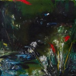 Sold. 'Wells of Arthur's Seat, Stream' Mixed media on 10 x 10 inch wood panel. Rose Strang 2018. £250