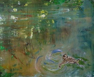 'Wells of Arthur's Seat, Swimming Toad, Hunter's Bog' Mixed media on 16 x 13 inch wood panel. Rose Strang 2018. £375