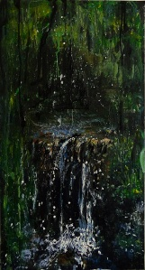 Sold. 'Wells of Arthur's Seat, Waterfall I' Mixed media on 35 x 18.5 inch wood panel. Rose Strang 2018.