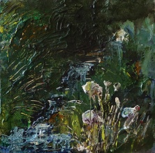Sold. 'Wells of Arthur's Seat, Stream and Flowers', Hunter's Bog Mixed media on 10 x 10 inch wood panel. Rose Strang 2018. £250