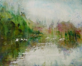 Sold. 'Wells of Arthur's Seat, Swans on St Margaret's Loch'. Mixed media on 16x13 inch wood panel. Rose Strang 2018. £375