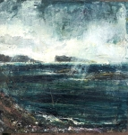 """Sold. 'Storm, Goirtean Beag beach, West Coast of Iona'. Mixed media on 1px10"""" wood panel. Rose Strang, August 2018."""