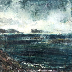 "Sold. 'Storm, Goirtean Beag beach, West Coast of Iona'. Mixed media on 1px10"" wood panel. Rose Strang, August 2018. £350"