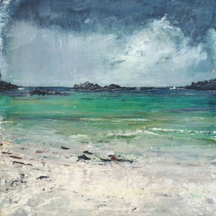 "Sold. 'Storm coming, Goirtean Beag beach, West Coast of Iona. Mixed media on 10x10"" wood panel. Rose Strang, August 2018."