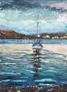 "Sold. 'Birthe Marie, St Ronan's Bay. (Isle of Iona)'. Mixed media on 16x12"" wood panel. Rose Strang 2018"