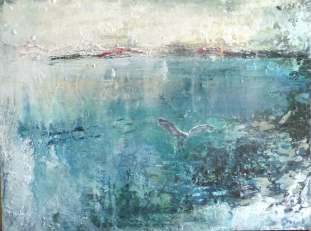 """Sold. 'Seagull, St Ronan's Bay (Isle of Iona'. Mixed media on 16x12"""" wood panel. Rose Strang, August 2018. (£450, framed)."""