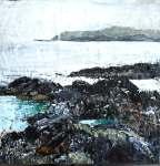 "'Misty Day, North Beach. (Isle of Iona)'. Mixed media on 10x10"" wood panel. Rose Strang 2018"