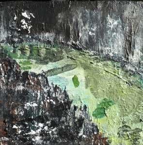 "'Rockpool II, North Beach. (Isle of Iona)'. Mixed media on 10x10"" wood panel. Rose Strang 2018. (£400, framed)."