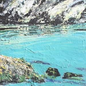 "Sold. 'Rockpool, North Beach. (Isle of Iona)' Mixed media on 10x10"" wood panel. Rose Strang 2018. (£400, framed)."