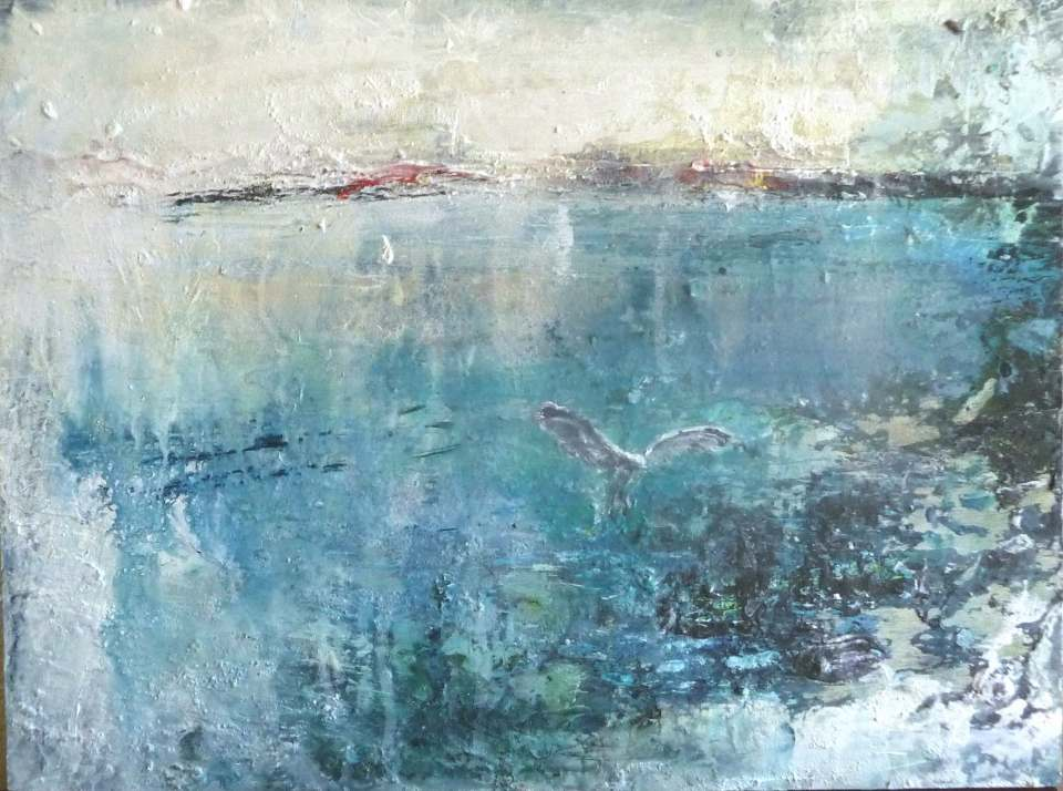 "'Seagull, St Ronan's Bay. (Isle of Iona)'. Mixed media on 16x12"" wood panel. Rose Strang 2018"