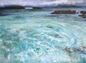 """'Sound of Iona I. (Isle of Iona)'. Mixed media on 16x12"""" wood panel. Rose Strang, 2018"""