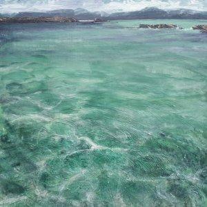 "Sold. 'Sound of Iona II. (Isle of Iona)'. Mixed media on 36x36"" wood panel. Rose Strang, 2018."