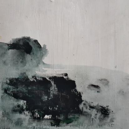 "'October Tide, Isle of Iona'. Mixed media on 10x10"" wood panel. Rose Strang 2018. £380"