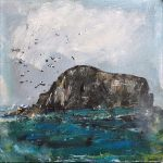 "'Cerulean Sea, Isle of Iona'. Mixed media on 10x10"" wood panel. Rose Strang 2018 (£400)"