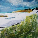 "Sold. 'Marram Grass, Isle of Iona'. Mixed media on 10x10"" wood panel. Rose Strang 2018 (£450)"