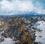 "Sold. 'Ochre Rocks, Isle of Iona'. Mixed media on 10x10"" wood panel. Rose Strang 2018 (£450)"
