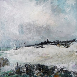 """Sold. 'October Sky, Isle of Iona'. Mixed media on 10x10"""" wood panel. Rose Strang 2018 (£450)"""