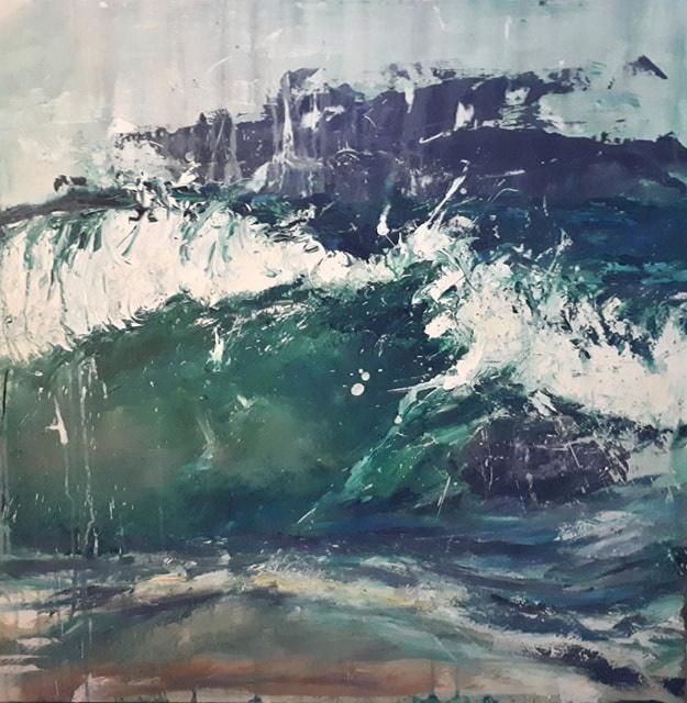 "Sold. 'October Tide I, Isle of Iona'. Mixed media on 30x30"" wood panel. Rose Strang 2018 (£1500)"