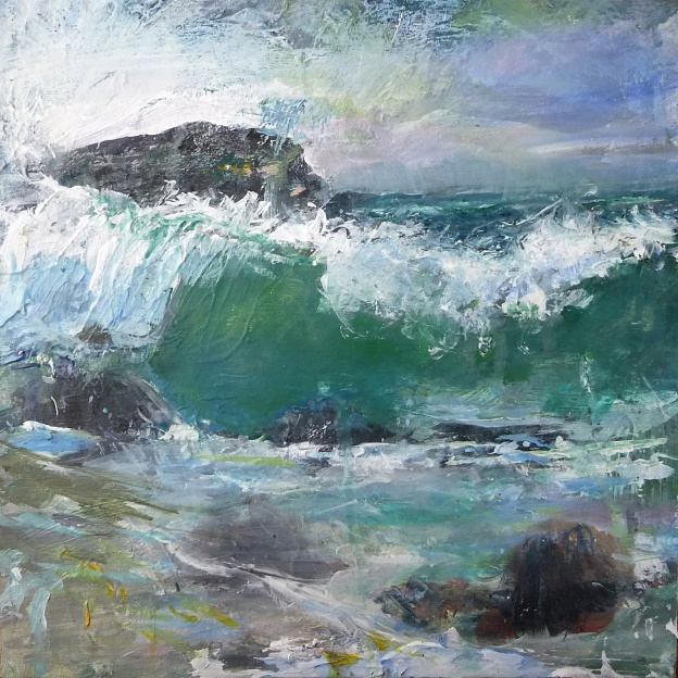 """Sold. 'Pisces Moon, Isle of Iona'. Mixed media on 10x10"""" wood panel. Rose Strang 2018"""