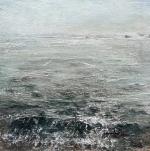 """Sold. 'Sea Mist, Isle of Iona'. Mixed media on 10x10"""" wood panel. Rose Strang 2018 (£450)"""