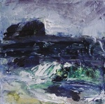 "Sold. 'North Beach, Twilight II. Isle of Iona'. Mixed media on 6x6"" wood block. Rose Strang 2018."