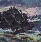 "Sold. 'North Beach,Twilight. Isle of Iona'. Mixed media on 6x6"" wood block. £90 (unframed). Rose Strang 2018."