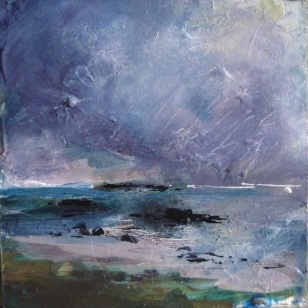 "Sold. 'North Beach,Twilight. Isle of Iona III'. Mixed media on 6x6"" wood block. Rose Strang 2018. £90 (unframed)."