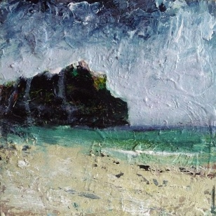 "'West Coast, Isle of Iona'. Mixed media on 10x10"" wood panel (unframed). Rose Strang 2018. £300"