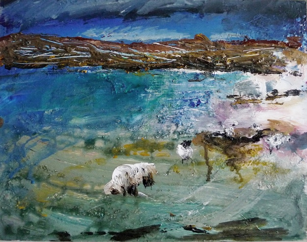 "'Ardnamurchan, Sheep'. Mixed media on 14x11"" wood panel. Rose Strang, 2019"