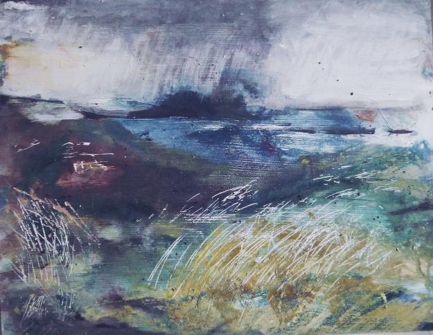 "'Sanna Bay, dusk'. Mixed media on 14x11"" wood panel. Rose Strang, 2019"