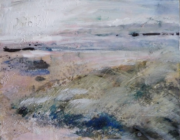 """'Sanna Bay,afternoon'. Mixed media on 14x11"""" wood panel. Rose Strang, 2019"""
