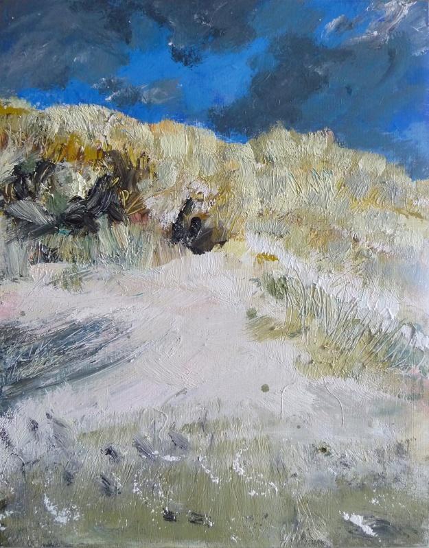 "'Sanna Bay, sand dune'. Mixed media on 14x11"" wood panel. Rose Strang, 2019"