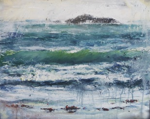 "'Sanna Bay Sea'. Mixed media on 20x16"" wood board. Rose Strang 2019. £595"