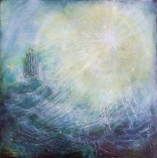 "'Sun. Planets Series'. Mixed media on 30x30"" wood. Rose Strang 2019."