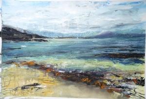 "Sold. 'Summer Sea. Ardban'. Mixed media on 31x22"" paper. Rose Strang 2019"