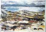 """Sold. 'Early Evening, Coral Beach. Ardban'. Mixed media on 31x22"""" paper. Rose Strang 2019. £380"""