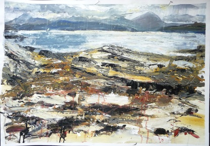"'Early Evening, Coral Beach. Ardban'. Mixed media on 31x22"" paper. Rose Strang 2019. £380"