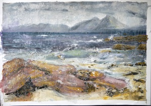 """Sold. 'The Cuillin from the Shore. Ardban'. Mixed media on 31x22"""" paper. Rose Strang 2019"""