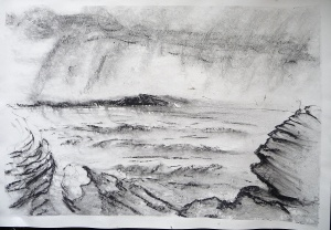 """Stormy Sea.Sold. 'Stormy Sea. Ardban'. Charcoal on 31x22"""" paper. Rose Strang 2019"""