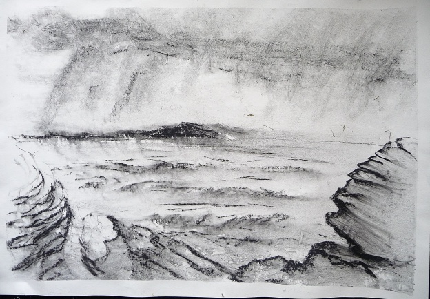 "Stormy Sea. Ardban'. Charcoal on 31x22"" paper. Rose Strang 2019"