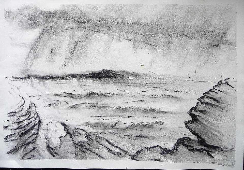 "Stormy Sea. Ardban'. Charcoal on 31x22"" paper. Rose Strang 2019"