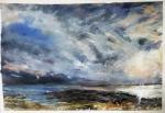 "'Stormy Sky. Ardban'. Mixed media on 31x22"" paper. Rose Strang 2019. £380"