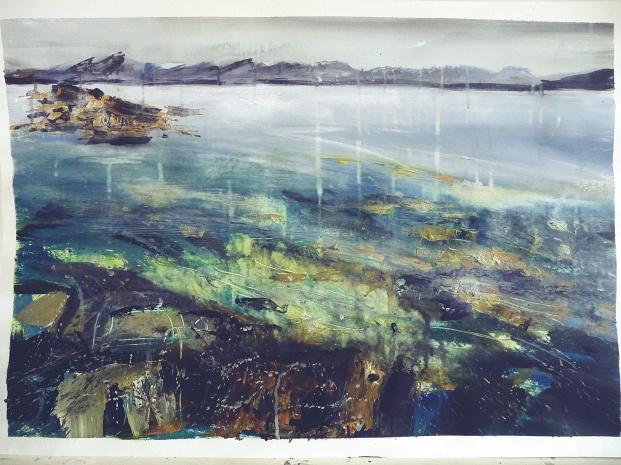 "'Coral Bed. Ardban'. Mixed media on 31x22"" paper. Rose Strang 2019. £380"
