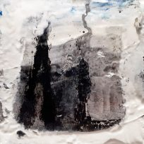 "Sold.'Winter Miniatures. City Snow'. Mixed media on 3x3"" wood. Rose Strang 2019"