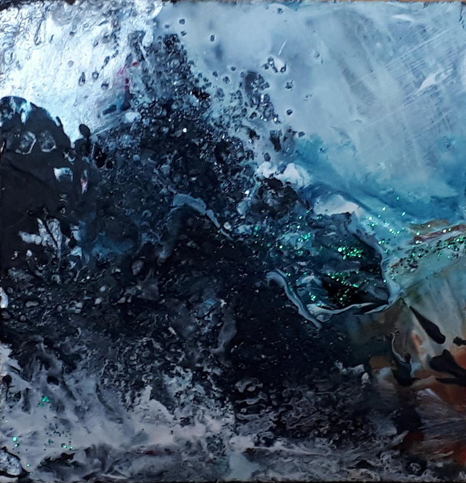 "'Winter Miniatures. Night Storm'. Mixed media on 3x3"" wood. Rose Strang 2019"
