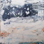 """'Winter Miniatures. Blizzard'. Mixed media on 3x3"""" wood. Rose Strang 2019"""