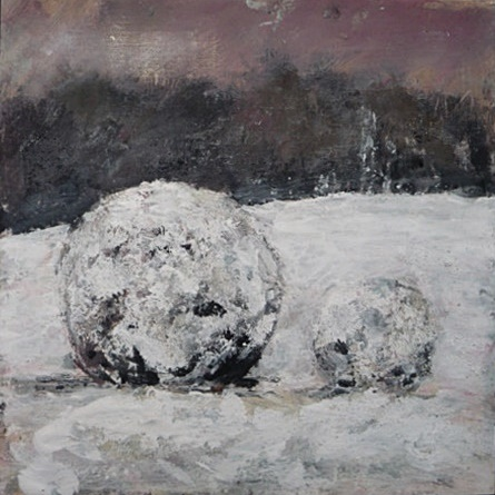 'Giant Snowballs'. Mixed media on 12x12 inch canvas. Rose Strang 2019 board