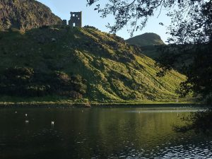 St Anthony's Chapel from St Margaret's Loch. Arthur's Seat, Edinburgh. Photo Rose Strang